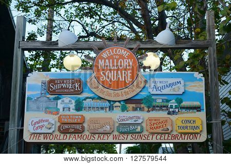 KEY WEST, FL, USA - DEC 20: Colorful signs at the entrance of Mallory Square on Dec 20, 2012 in Kew West, Florida, USA.