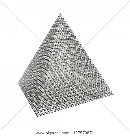 Pyramid. Regular Tetrahedron. Platonic Solid. Regular, Convex Polyhedron. 3D Connection Structure. Wireframe Mesh Polygonal Element.