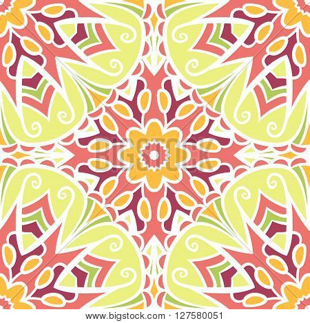Seamless pattern with abstract colored floral ornament. Mandala seamless pattern