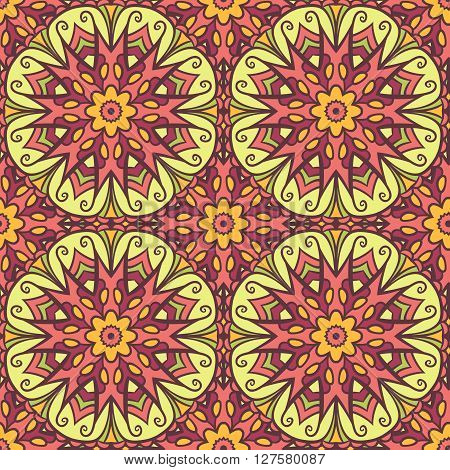 Seamless pattern with colored mandala motifs. Abstract floral seamless pattern