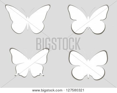 Set Paper Butterflies With Shadow. Vector Illustration.
