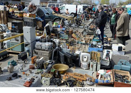 Kiev, Ukraine, April 10, 2016. Swap meet, sale of old things