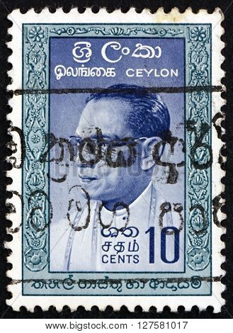 SRI LANKA - CIRCA 1963: a stamp printed in Sri Lanka shows S.W.R.D. Bandaranaike was the fourth Prime Minister of Ceylon circa 1963