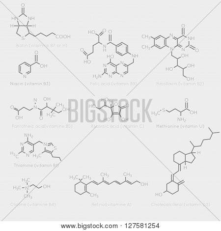 Skeletal formulas of some vitamins. Schematic image of chemical organic molecules nutrients.