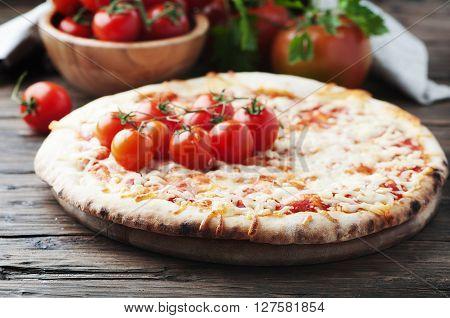 Homemade Italian Pizza Margherita With Tomato