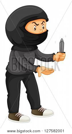Robber in black holding a knife illustration