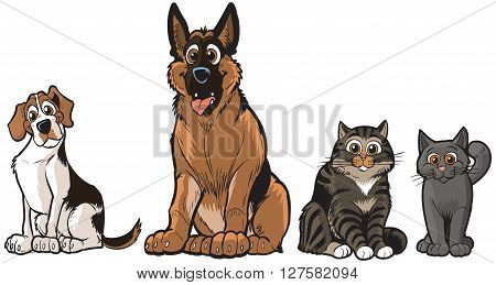 Vector cartoon illustration clip art of a group of 2 dogs and 2 cats A Beagle German Shepherd Tabby and a Grey cat. Each pet is on a separate layer.