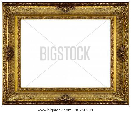 Chipped vintage gold ornate frame. Isolated on white