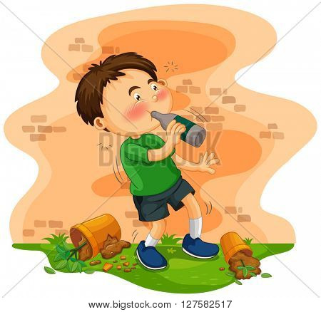 Little boy getting drunk illustration