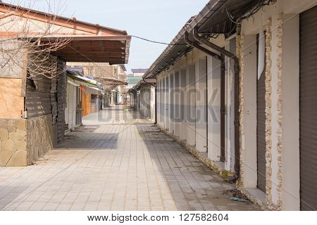 Vityazevo, Russia - April 2, 2015: An Empty And Deserted In The Off-season Run To The Central Beach