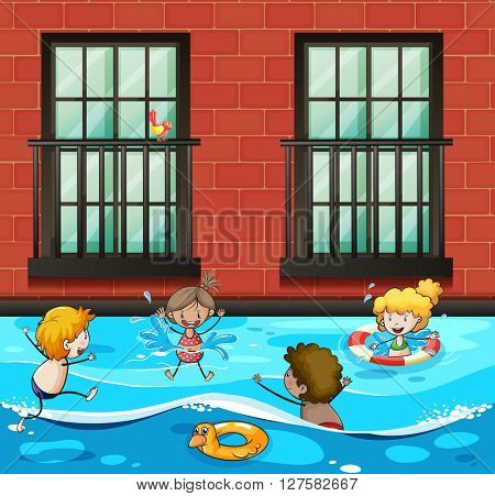 Boys and girls swimming in the pool illustration