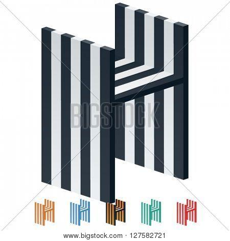 Vector stripped 3D alphabet. Optional different colors. Letter H
