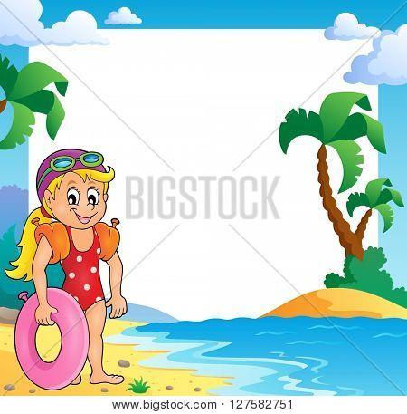 Beach theme frame with girl swimmer - eps10 vector illustration.