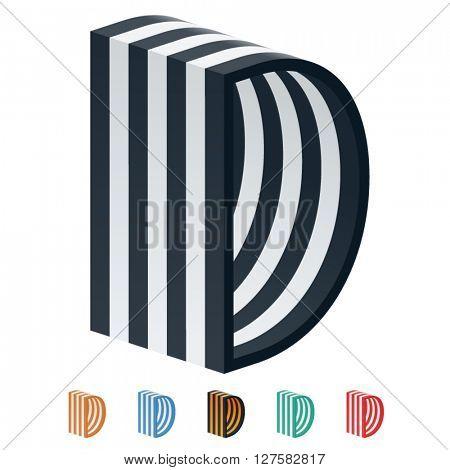 Vector stripped 3D alphabet. Optional different colors. Letter D