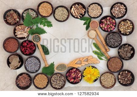 Superfood with herb and spice selection used in natural alternative medicine for women.
