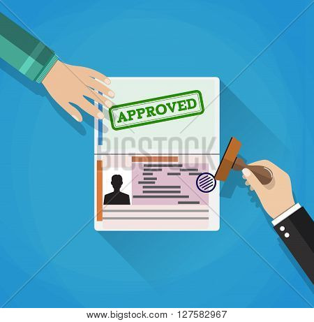 hand puts a stamp in the passport with a mark approved. travel document. vector illustration in flat design on BLUE background with shadows