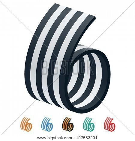 Vector stripped 3D alphabet. Optional different colors. Number 6