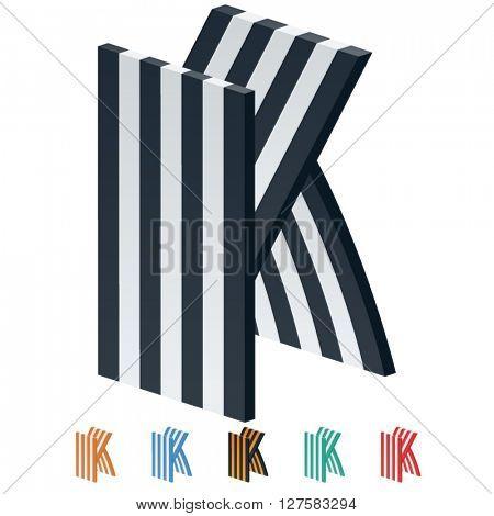 Vector stripped 3D alphabet. Optional different colors. Letter K