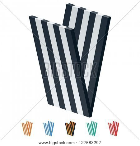 Vector stripped 3D alphabet. Optional different colors. Letter V
