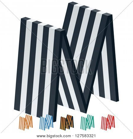 Vector stripped 3D alphabet. Optional different colors. Letter M