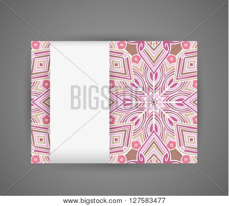 Banner with pink mandala pattern and white vertical paper tape