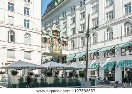 VIENNA, AUSTRIA-April 20 : Viennese Classical style building on April 20, 2016.Vienna, Austria, Europe