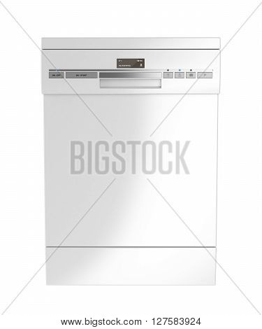 Front view of white dishwasher isolated on white background, 3D illustration