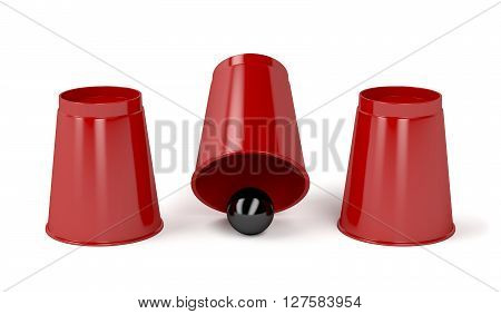 Three cups and a ball on white background, 3D illustration