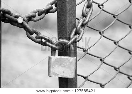 iron padlock on iron fence with a chain-link fencing, black and white photo