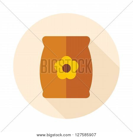 Bag sack flower seed flat vector icon outline isolated garden eps 10