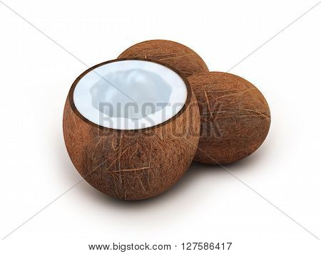 Three coconut on white background (done in 3d)
