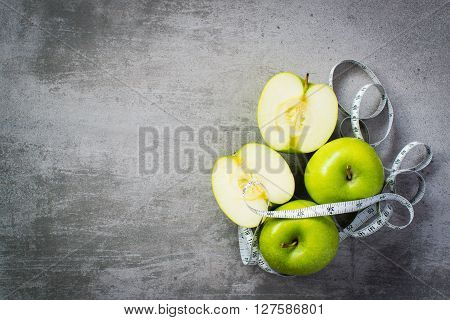 Green Apples With Measure Tape