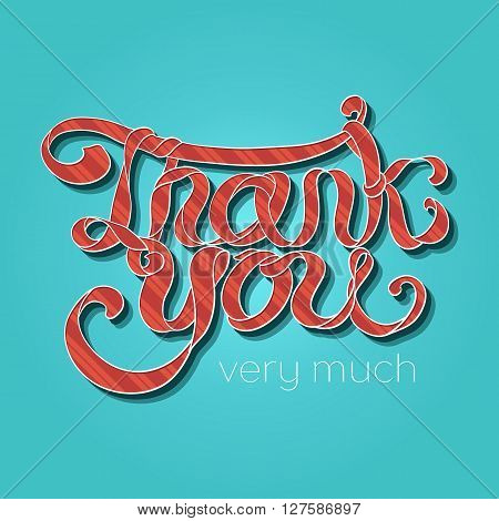 Vector Red Hand Lettering Thank You Text With Striped Pattern