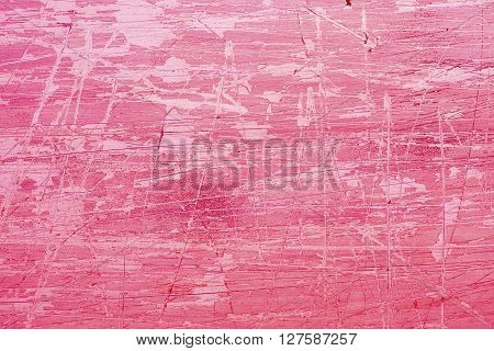 Pink coated steel grunge background with scratches