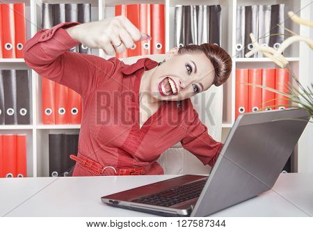Angry Business Woman With Big Fist Screaming