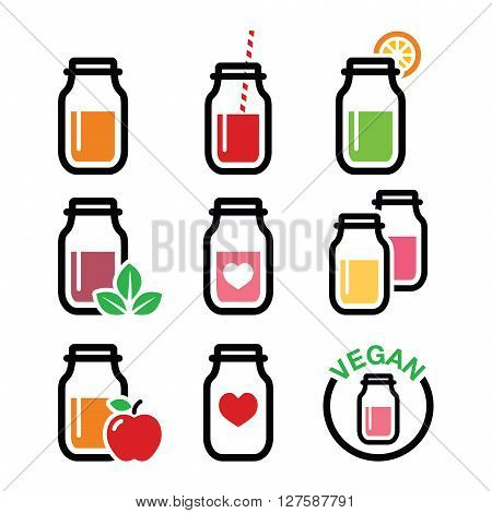 Healthy smoothie drink, juice in jar icons set