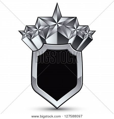 Gray geometric symbol with five stylized silver stars best for use in web and graphic design corporate vector silvery icon isolated on white background.