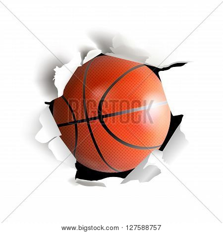 Sport Vector Illustartion With Basketball Ball Coming Out From Paper