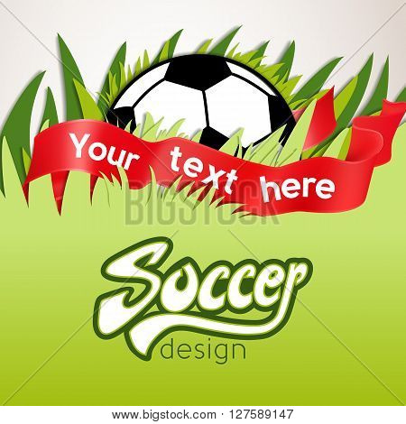 Vector Soccer Banner With Ball, Ribbon And Grass