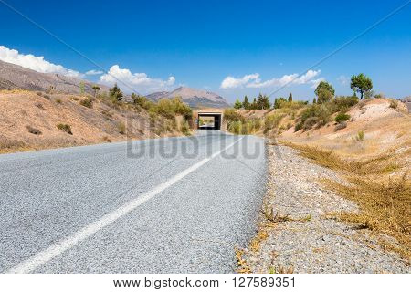 Nature of Spain, rural landscape with the road at summer