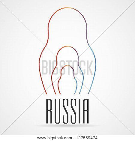 Russian Matrioshka Vector Icon In Thin Line Style