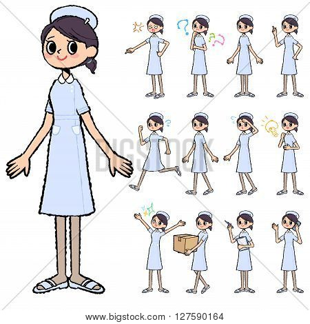 Set of various poses of Nurse woman in hand painted