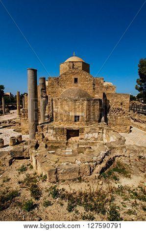 The Panagia Chrysopolitissa church early Byzantine basilica. Paphos Cyprus.