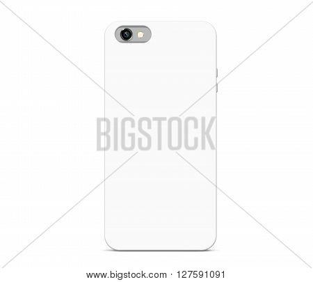 Blank white phone case mock up stand isolated. Empty smart phone cover mockup ready for logo, texture print presentation. Cellphone protector cover concept. Smartphone casing design. Plastic container