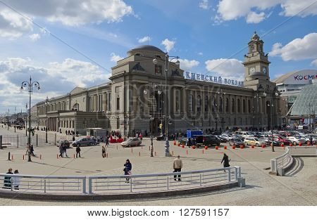 MOSCOW, RUSSIA - APRIL 24, 2016: The building of the Kiyevskaya railway station the area of the Kiev station Building 1 a view from the European Square built in 1899 until 1934 was called Bryanskiy
