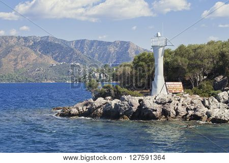 Bay of Marmaris and lighthouse, view from the sea