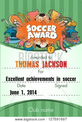 Soccer Award. Template with Football items composition on top and field for text. Vector illustration