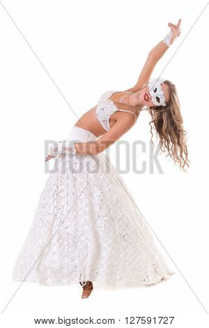Carnival dancer woman wearing a mask dancing, isolated on white background in full length.