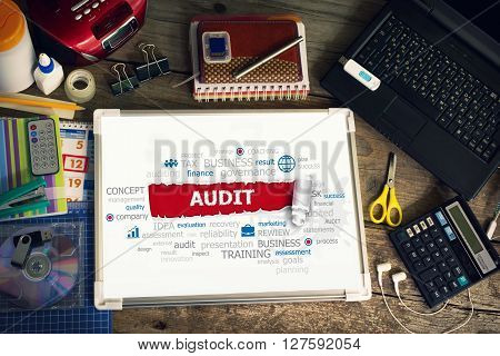Audit concept for business consulting finance management. Audit concepts for printed materials.