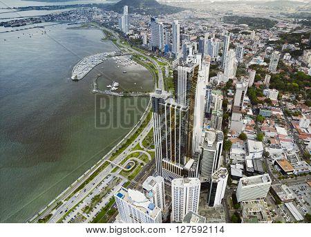 Aerial view of the coastline of Panama City, Panama